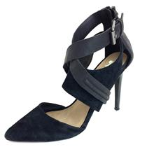 Sz 8.5 Joe's Jeans Black Alyson Suede Pointed Toe Strappy Ankle Detail Heels