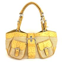 Authentic PRADA Paglia Struzzo Ostrich Raffia Shoulder Bag in Naturale Soleil