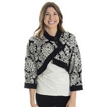 8 Joseph Ribkoff Black & Cream Printed Bolero Jacket w/Button Closure 84775