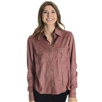 S NWT Outback Trading Company Rose Pink Micro Suede Tooled Paisley Yoke Shirt