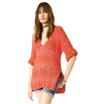 XS NEW Free People Georgia V-Neck Chunky 1/2 Sleeve Sweater in Red Faint Stripe