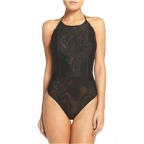 New Sz M Free People Dance Around High Neck Halter Top Lace Bodysuit in Black