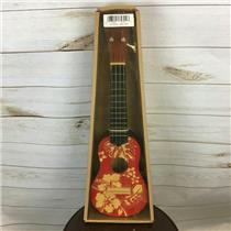 "18"" Wooden Ukulele Red Floral Hawaiian Print Tropical Party Accessory"