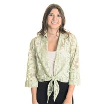 S NWT Banana Bay Green Floral Burnout Sheer Tie Front Resort Wear Blouse Top