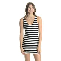 S Olivaceous Black/White Stripe Scoop Neck/Back Sleeveless Stretch Bodycon Dress