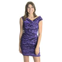 Sz 6 NWT Nicole Miller Collection Purple Techno Metal Sleeveless Sheath Dress