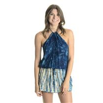 Sz S NEW Planet Blue Life Island Halter Low Back Cover-Up Dress in Blue Tahiti