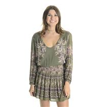 NEW L Free People Green 'Moonlight Drive' Print 3/4 Sleeve Scoop Neck Minidress