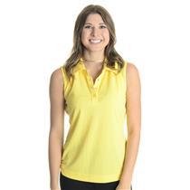 NWT S Bolle Tennis Women's Yellow Sleeveless Collared Snap Neck Tennis Top