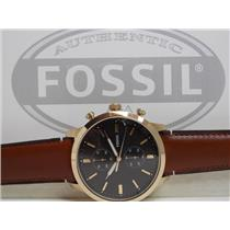 Fossil FS5338 Men's Chronograph Watch. Townsman Brown Leather Strap Watch 44mm