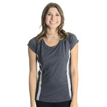 NWT S Bolle Tennis Women's All That Jazz Cap Sleeve Tennis Top in Graphite Gray
