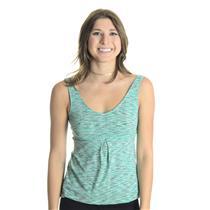 Sz XS Lucy Teal/Black/White Stripe V-Neck Workout Top W/ Gathered Tie Hemline