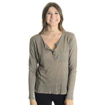 S VINCE Taupe Brown Henley Style Button Front Pocket Front Long Sleeve Top
