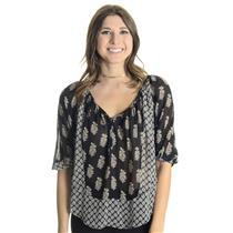 XS Joie Black 100% Silk Corbelle Blouse w/Gray & Ivory Paisley Print J301-23302