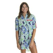 S HIHO Voile Cotton Printed Barbara Beach Shirt Dress Cover Up Tunic Blue Foam