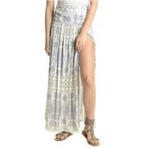 NEW Sz XS Stillwater Gypsy Full Length Maxi Banded Waist High Slit Skirt in Gray