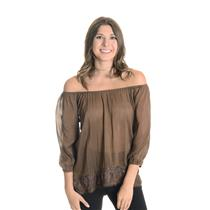 Sz S ...trinity Anthropologie Brown Cotton/Silk Peasant Blouse Lace Trim Elastic