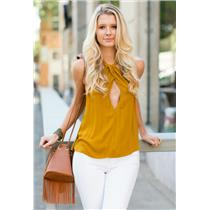 NEW Sz L Free People Twist & Shout Gold Twist Front Keyhole Neck Sleeveless Top