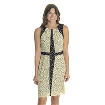 6P NWT Donna Ricco New York Black/Ivory Lace Sheath Dress Colorblock Sleeveless