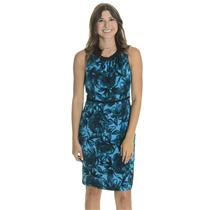 6 NWT Donna Ricco Turquoise Blue/Black Rose Print Pleated Trim Sleeveless Dress