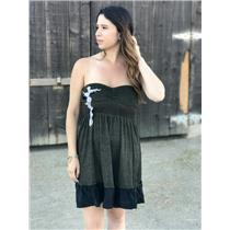 Sz S Free People Sparkle Jersey Dress Strapless Fit & Flare Sequin Lace Applique
