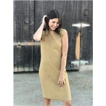 M LAUREN Ralph Lauren Gold Sweater Knit Sleeveless Knee Length Sheath Dress EUC