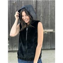 M Bagatelle Faux Fur/Vegan Leather Zip Front Hooded Sleeveless Jacket/Vest