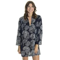 S HIHO Voile Cotton Printed Caribbean Beach CoverUp Culebra Tunic Navy Rope