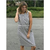 Sz 12 Kate Spade New York Navy/White Lemon Print Emrick Dress Wired Slit Neck