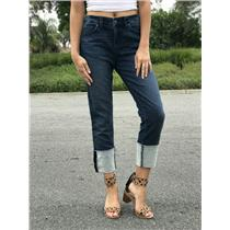 Size 28 Level 99 Medium Washed Slouchy Straight Cuffed Factory Distressed Jeans