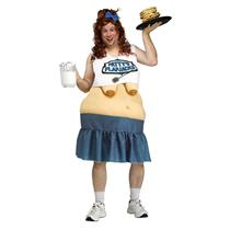 Patty's Flapjacks Waitress Funny Fat Suit Adult Costume Pancake Boobs Mens