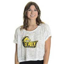 M Majestic Thread White Burnout Crystals Cal Poly Mustangs Boxy Crop Top T-Shirt