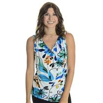 S NWT Libra White Floral Ruched Cross Over Sleeveless Jersey Tank Top Blouse