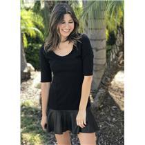 S Twenty Tees Black Short Sleeve Scoop Neck Dress w/Lamb Skin Leather Ruffle Hem