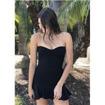 Sz 2 Joy Cioci LBD Crepe Black Strapless Mini ALI Dress w/Silver Metal Zipper