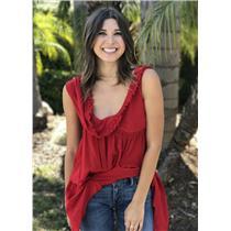 Sz 6 NWT Authentic Christian Dior Boutique Paris Red Silk Couture Draped Blouse