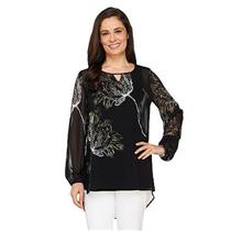 Susan Graver Size 2 Placement Print Sheer Chiffon Black/Ivory Tunic with Keyhole