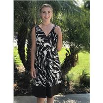 Sz 8 Banana Republic Brown/White Zebra Print Cross Front Sleeveless Shift Dress