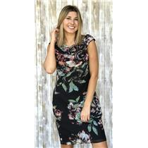 Sz 8 Adrianna Papell Multi Color Floral Print Cap Sleeve Dress w/Rose Applique