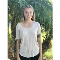 M Bella Luxx Micro Modal Jersey Silk Contrast Short Sleeve Tissue Top Muted Rose