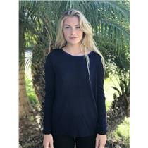 L Olivaceous Navy Knit Long Sleeve Top w/Royal Blue Contrast Sheer Silk Back