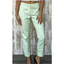 Sz 2 J. Crew Mint Green Ankle Suiting Pant W/ Faux Pockets and Hook/Eye Closure