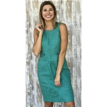 2 J. Crew Green Attaché Linen-Canvas Sleeveless Button Front Detail Lined Dress