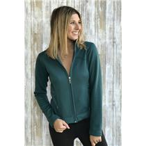 Sz XS Lucy Teal Green Long Sleeve Fleece Lined Full Zip Collared Athletic Jacket