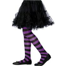 Black and Purple Striped Child Tights 6-12 years