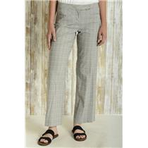 4 Poleci Grey Plaid Check Wide Leg Trousers Dress Pants Tab Waist Welt Pocket