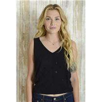 S Anne Klein Black Sleeveless Argyle Knit Tank Top Shell Pointelle Sequin Beads