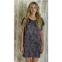 8 Rebecca Taylor Gray Fuchsia 100% Silk Short Sleeve Shift Dress w/Leather Trim