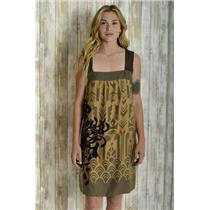 6 Floreat Anthropologie Brown Patterned Silk Cotton Dress w/Purple Embroidery