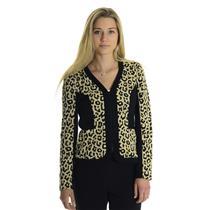 8 NEW Joseph Ribkoff Black Beige Cheetah Leopard Print Zip Front Knit Jacket